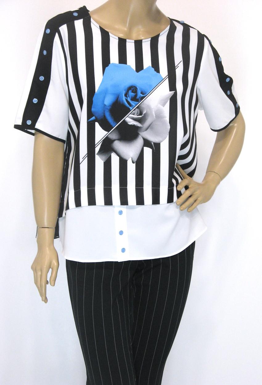 Шифонова нарядна блуза в полоску