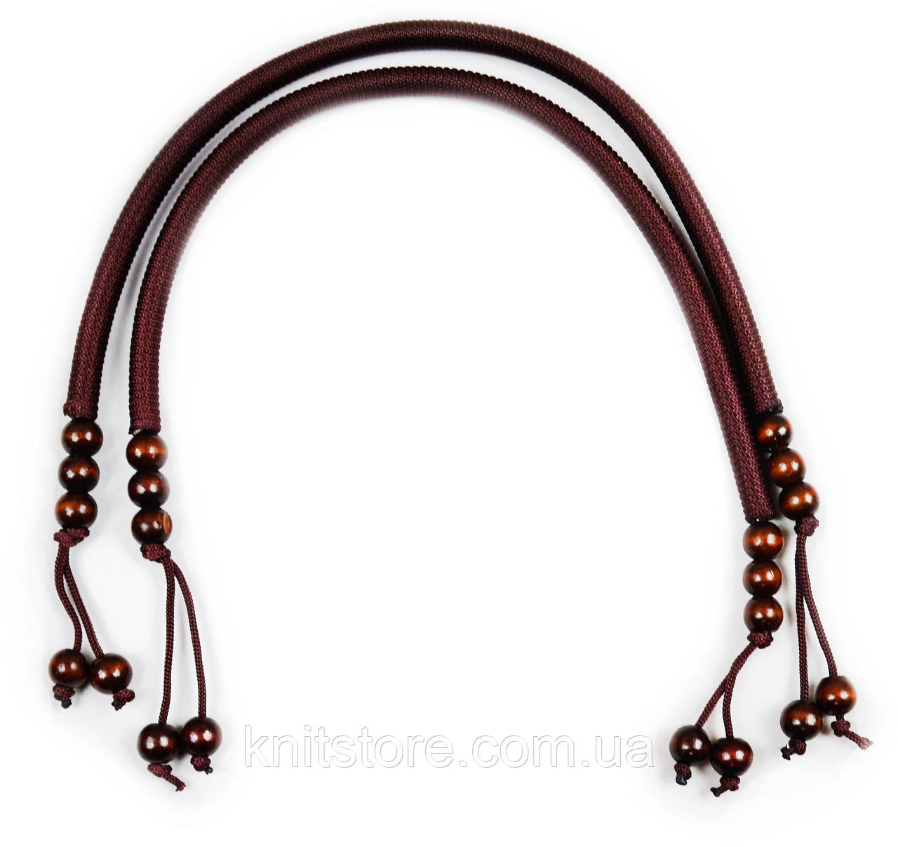 Ручки для сумок кожаные с кольцами, коричневые, 78 см
