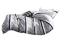 Комплект постельного белья Хлопковый Сатин NR C1349 Oulaiya 8012 Синий, Серый
