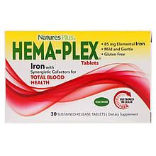 """Комплекс витаминов и минералов Nature's Plus """"Hema-Plex"""" для здорового состояния крови (30 таблеток)"""