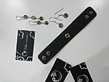 Авторський браслет із шкіри ,вставка із срібла з малюнком, фото 2