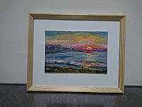 Картина пейзаж ′закат′, картина маслом