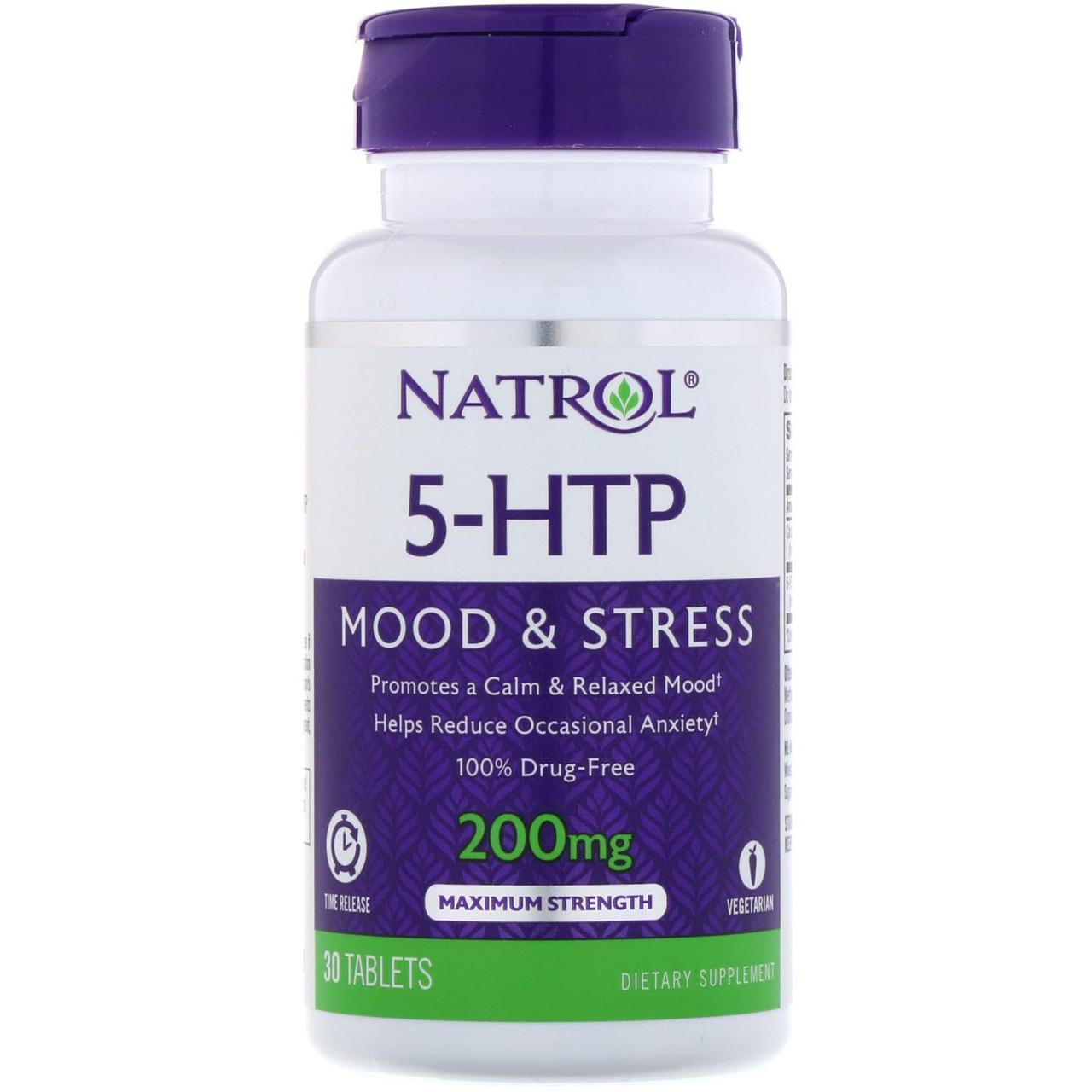 Natrol, 5-HTP (5-гидрокситриптофан) TR, Time Release, 200 мг, 30 таблеток