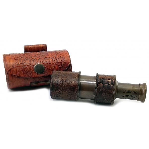 Сувенирная труба подзорная в кожаном футляре