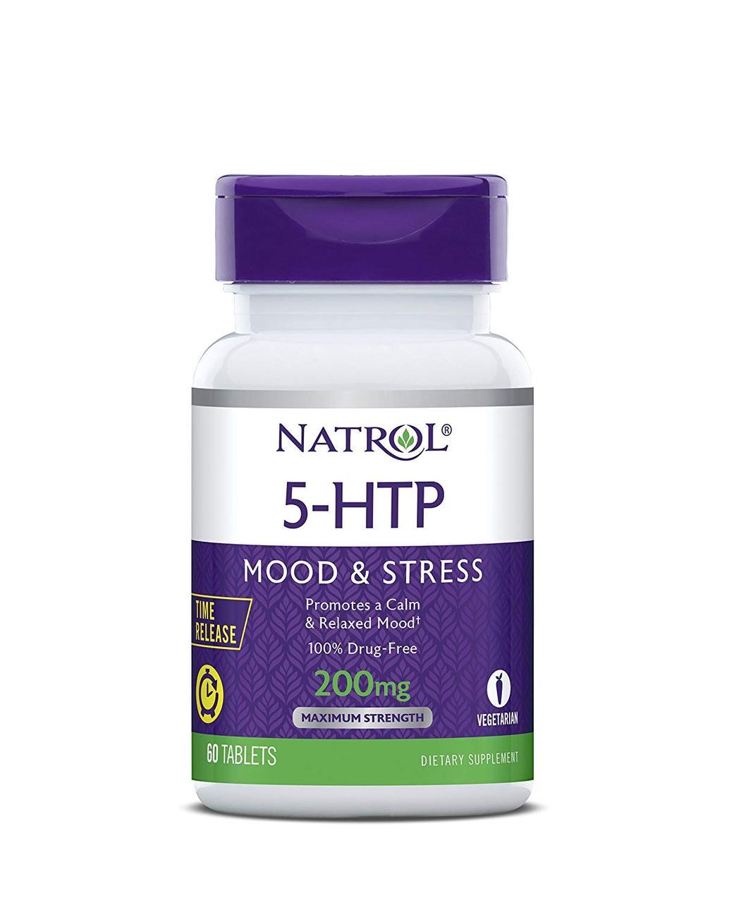 Natrol, 5-HTP (5-гидрокситриптофан) TR, Time Release, 200 мг, 60 таблеток