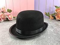 Шляпа Котелок черная большая