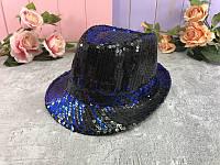 Шляпа пайетка сине-чёрная