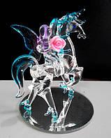 Статуэтка сувенир Единорог с феей стеклянный 9 см, фото 1