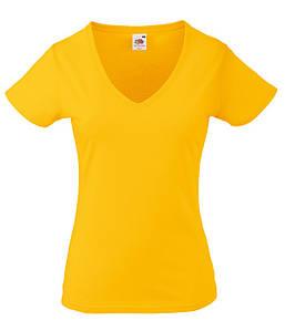Женская футболка с v образным вырезом XS, Солнечно Желтый