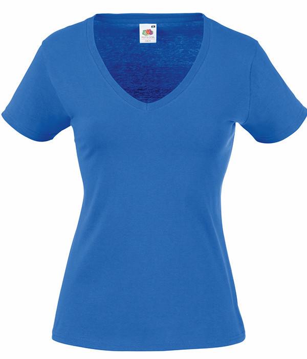Женская футболка с v образным вырезом S, Ярко-Синий