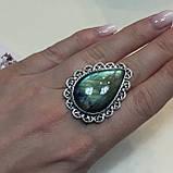 Лабрадор кольцо с натуральным лабрадором в серебре кольцо капля с лабрадором 20-20,2 размер Индия, фото 5