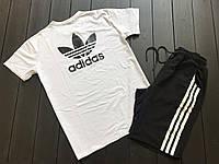 Мужской летний комплект в стиле Adidas (black/white), летний комплект Адидас (шорты и футболка)