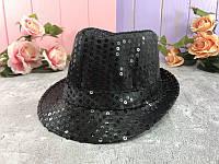 Шляпа пайетка чёрная