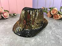 Шляпа пайетка черно-золотая