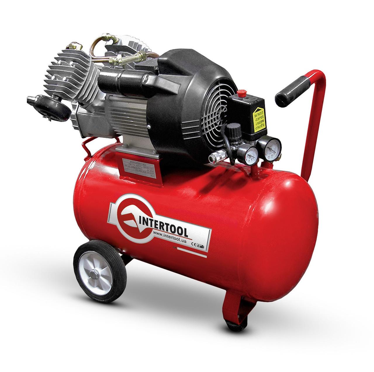 Компрессор 50 л, 3 кВт, 220 В, 8 атм, 420 л/мин, 2 цилиндра. INTERTOOL PT-0007