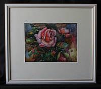 Картина акварель ′Троянда в саду′