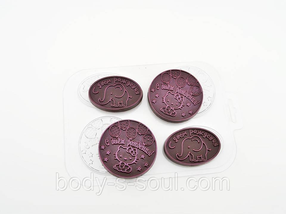 Пластиковая форма для шоколада Котики и слоники