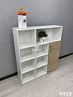 Стеллаж (шкаф)  с открытыми секциями и накопителем. Модель V429 белый / дуб сонома