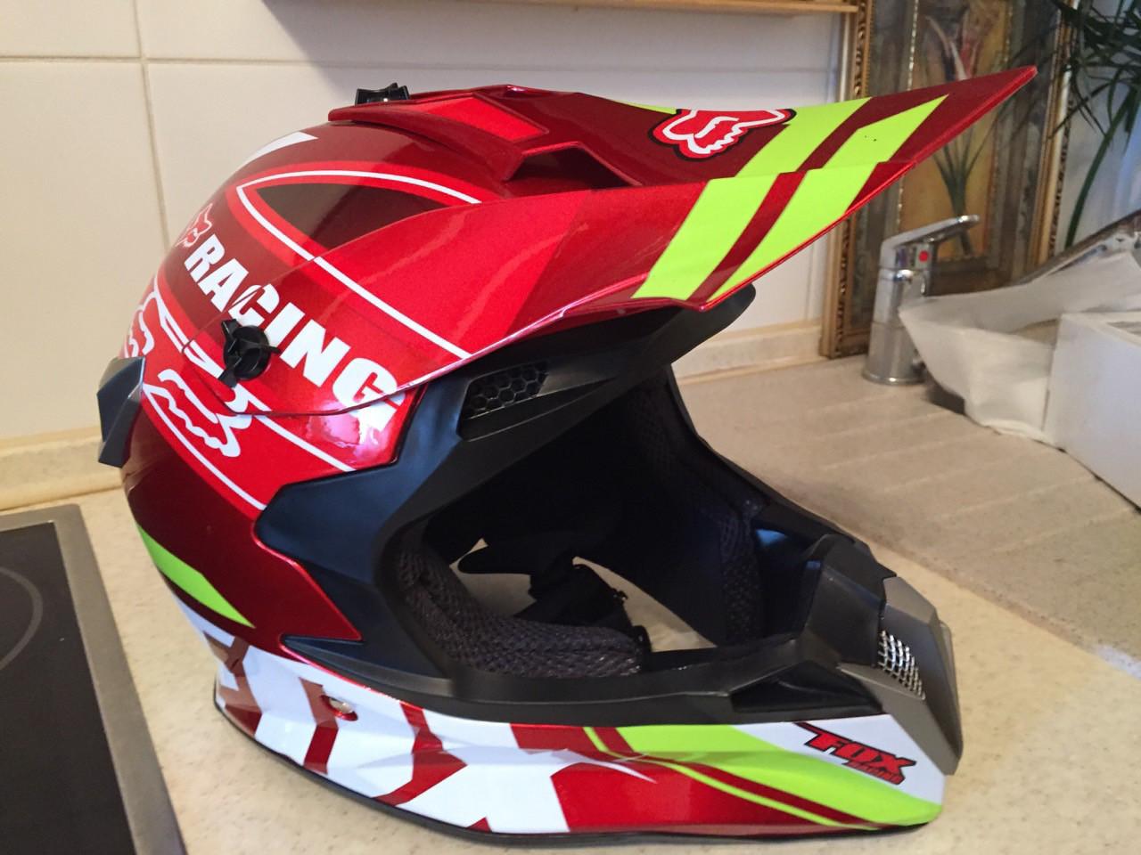 Красный Кроссовый эндуро мото шлем Fox под очки (эндуро, даунхил)