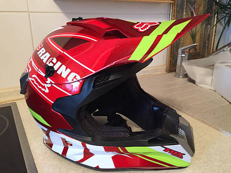 Красный Кроссовый эндуро мото шлем Fox под очки (эндуро, даунхил), фото 2