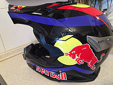 Черный глянцевый Кроссовый мото шлем Redbull (эндуро, даунхил) мотошлем с козырьком под очки, фото 2