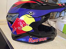 Черный глянцевый Кроссовый мото шлем Redbull (эндуро, даунхил) мотошлем с козырьком под очки, фото 3