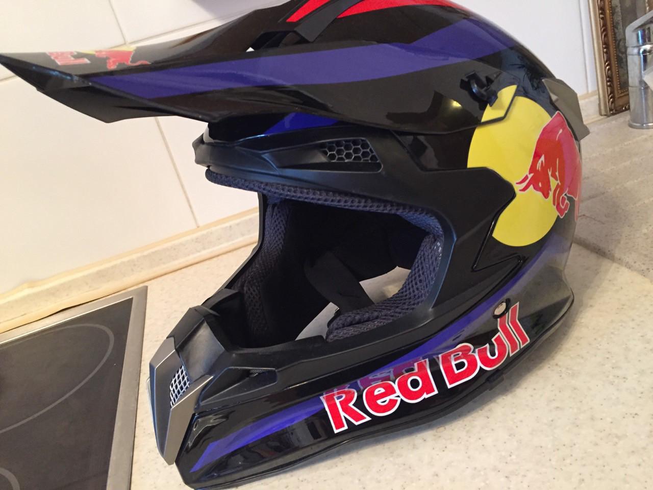 Черный глянцевый Кроссовый мото шлем Redbull (эндуро, даунхил) мотошлем с козырьком под очки