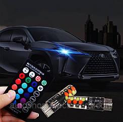 Светодиодные автомобильные лампы габаритов RGB LED T10 W5W + пульт / Цветные ходовые огни