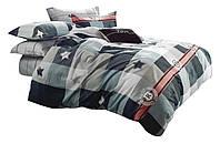 Комплект постельного белья Хлопковый Сатин NR C1358 Oulaiya 8517 Серый