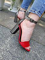 Босоножки на каблуке Lux  красные с черной полоской серебром, фото 1
