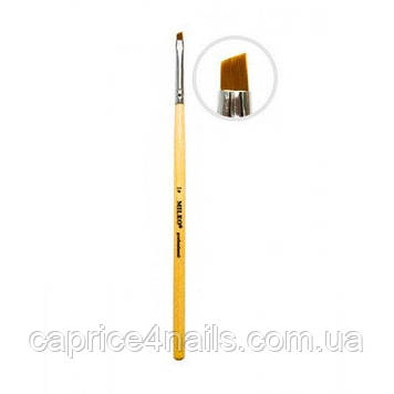 Пензель для гелю, штучний ворс, скошений, з дерев'яною ручкою, №3 Mileo Professional