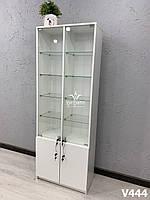 Шкаф со стеклянными полками. Модель V444 цвет белый, фото 1