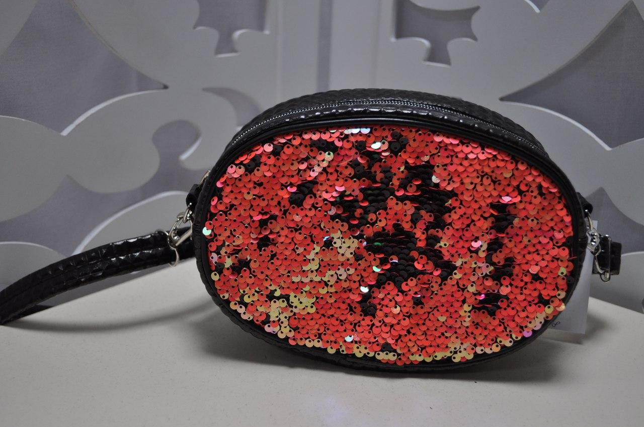 Женская поясная сумка (бананка) в черно-красном цвете с пайетками, из искусственной кожи