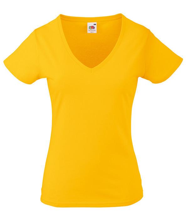 Женская футболка с v образным вырезом XL, Солнечно Желтый
