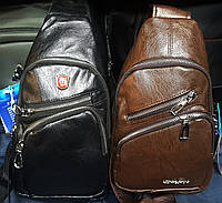 Мужские барсетки из кожзама на 2 основных отделения  два цвета