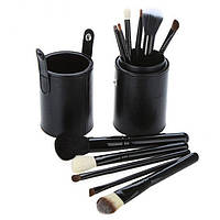 Набор 12 кистей для макияжа Bananahall в черном чехле-тубусе (bnnhll2040)