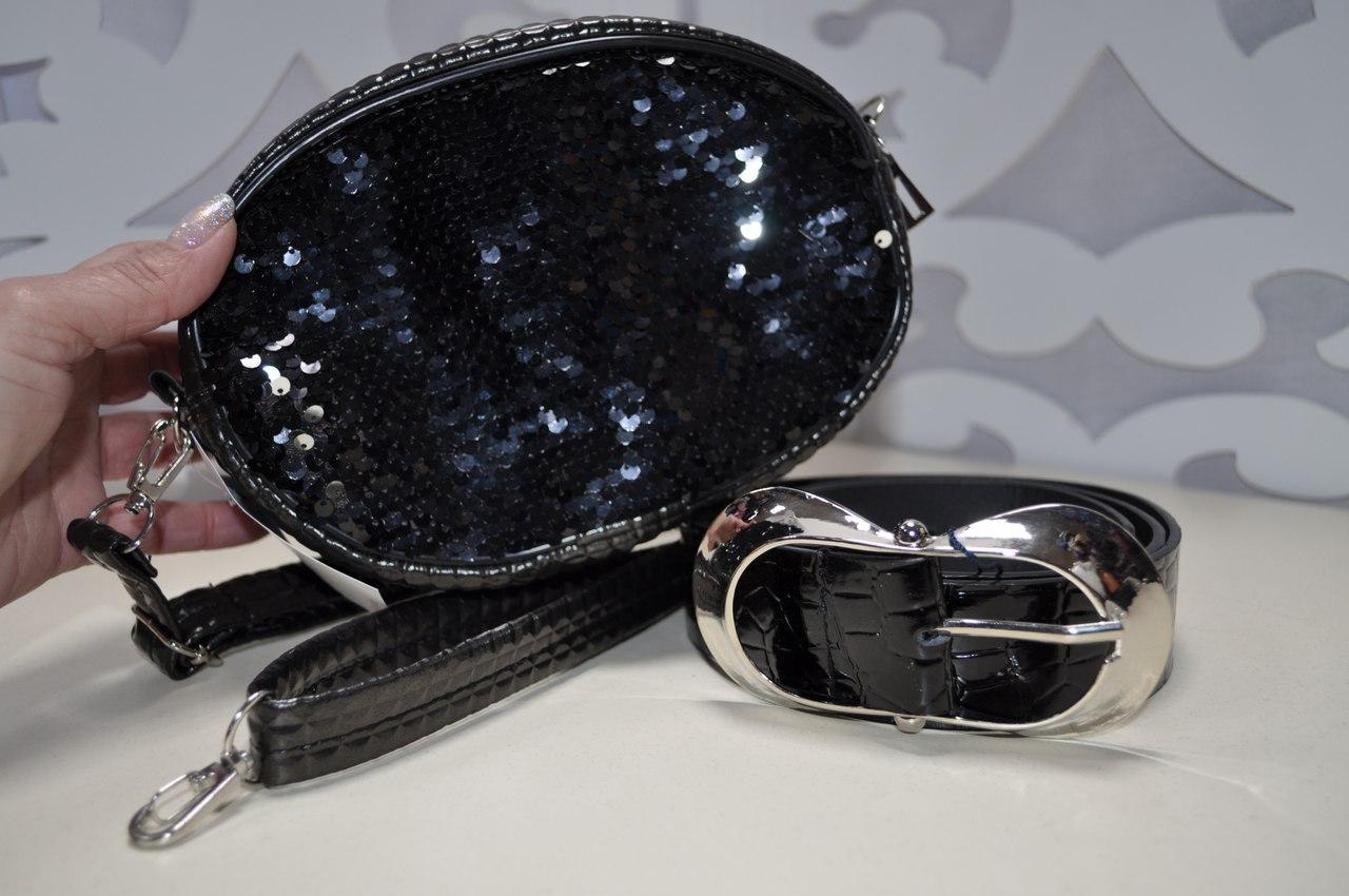Женская поясная сумка (бананка) в черном цвете с пайетками, из искусственной кожи