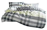 Комплект постельного белья Хлопковый Сатин NR C1369 Oulaiya 8838 Серый, Зеленый