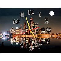 Интересные настенные часы с пейзажем IdeaX Полнолуние в мегаполисе, 40х30 см