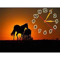 Интересные настенные часы с пейзажем IdeaX Пленительный закат, 40х30 см