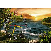 Оригинальные настенные часы для декора интерьера IdeaX с пейзажем Легкие волны, 45х30 см