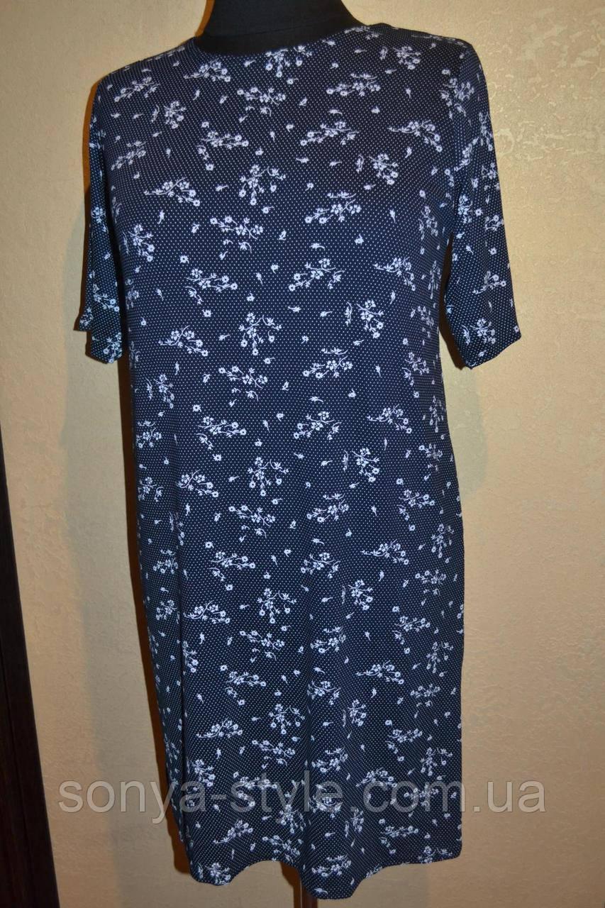 """Женское платье """" с букетами   """" больших размеров"""