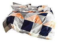 Комплект постельного белья Хлопковый Сатин NR C1377 Oulaiya 8647 Синий, Оранжевый, Серый