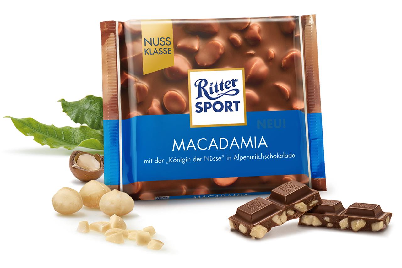 Молочный шоколад Ritter Sport с орехом Макадамия 100 г. Германия