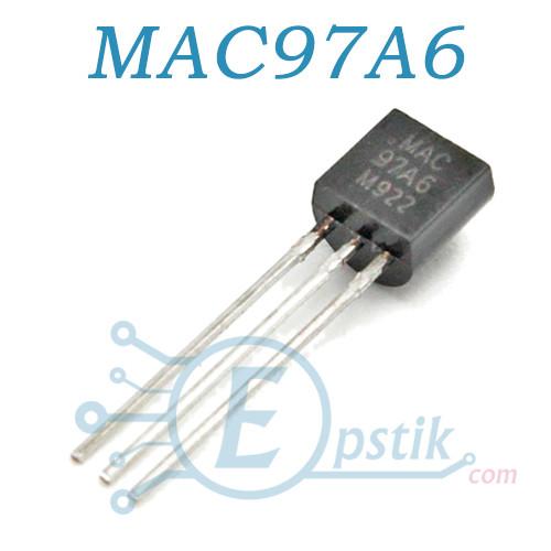 MAC97A6, тиристор 400В, 600мА, TO92