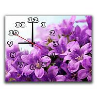 Красивые настенные часы в зал IdeaX Фиолетовое цветение, 30х40 см
