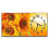 Стильные настенные часы IdeaX Подсолнухи, 30х60 см