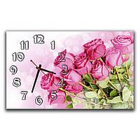 Розовые настенные часы IdeaX Букет роз, 30х50 см