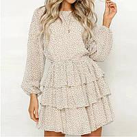 Летнее платье в стильный горошек с красивой спинкой и интересной юбкой