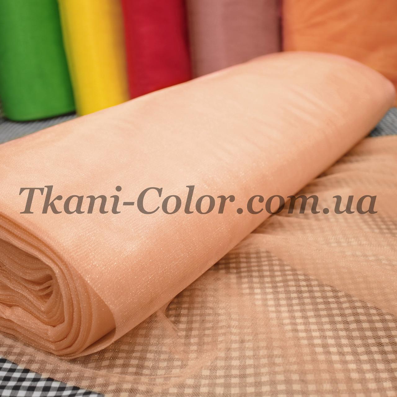 Ткань фатин средней жесткости персиковый